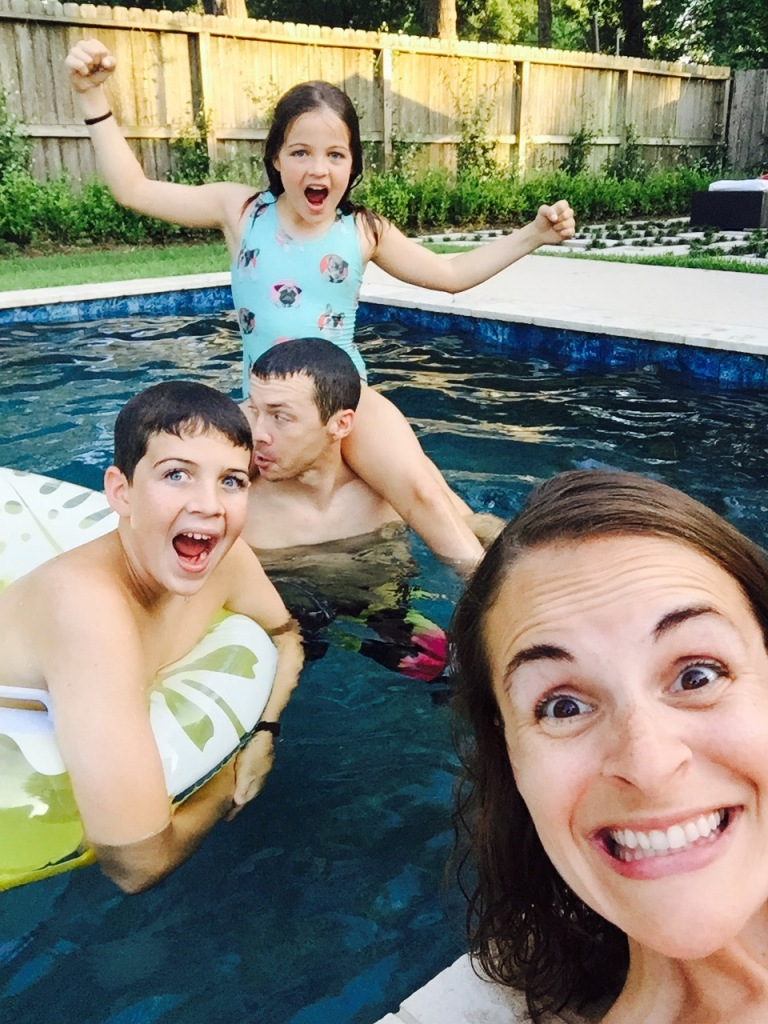 Enjoying some poolside fun to celebrate Guillaume for Father's Day!