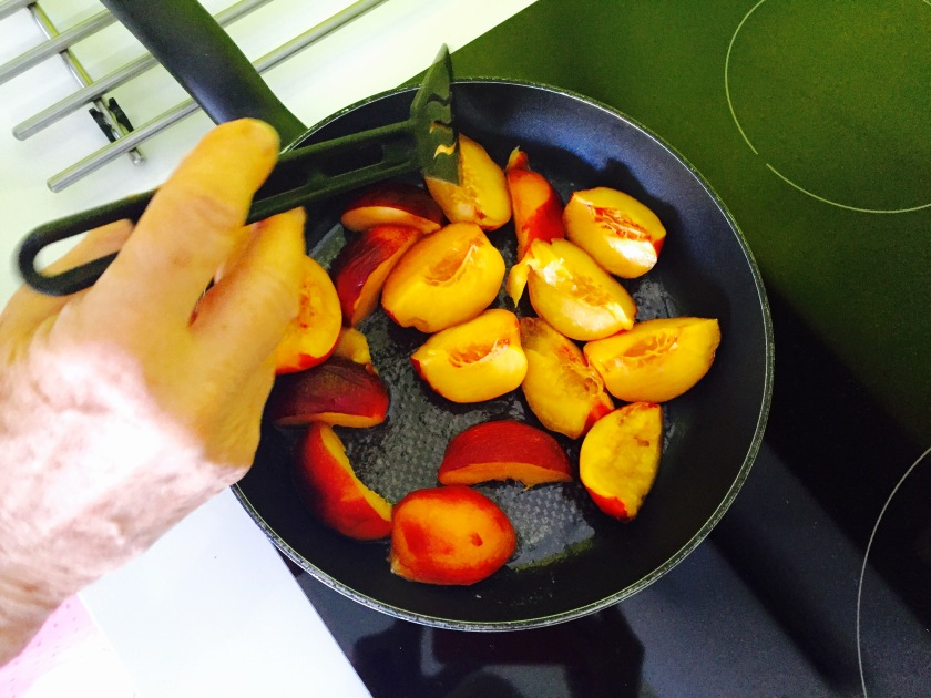 Sauté your peaches with coconut oil, butter, and fresh squeezed orange juice.