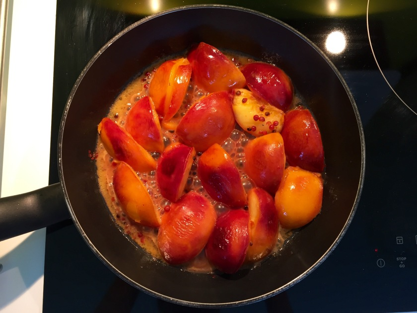 Let your peaches simmer in your skillet for about 10 minutes on medium initially, and then placing it at low heat while you prepare you duck breasts.