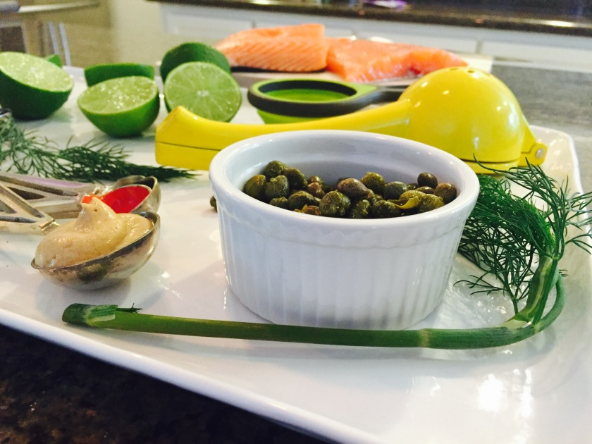 Salmon Sashimi Tatar Ingredients-Capers and Dill
