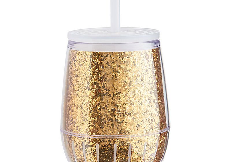 Gold Glitter To-Go Wine Tumbler $12.95